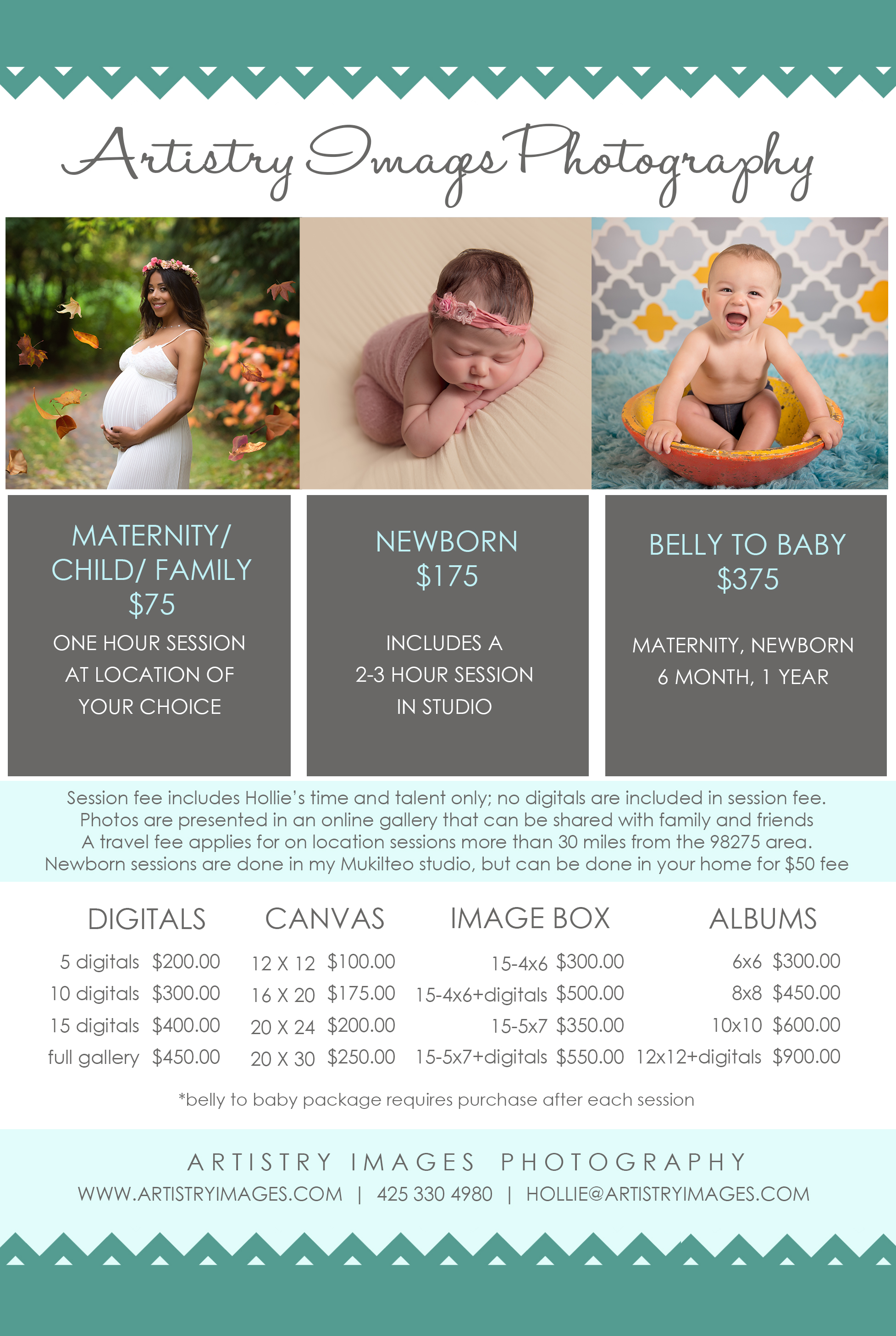 Artistry images portrait newborn price list